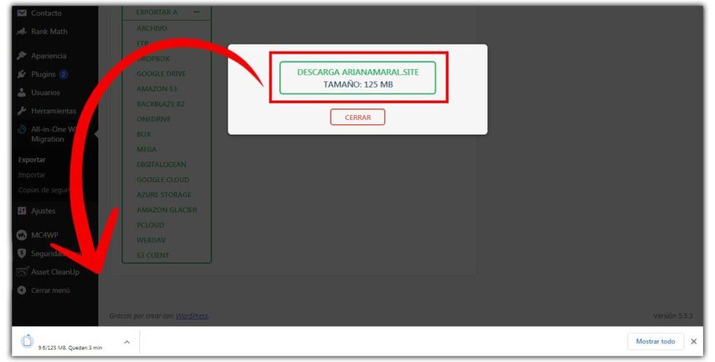 respaldar sitio wordpress