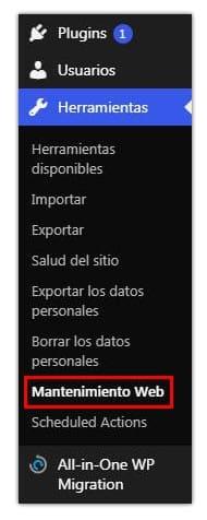 activar modo mantenimiento wordpress
