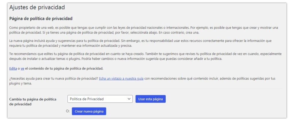 politica de privacidad wordpress