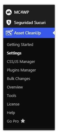 panel de configuración de asset cleanup