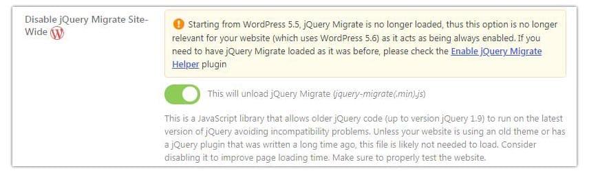 jQuery Migrate desactivar Asset Cleanup