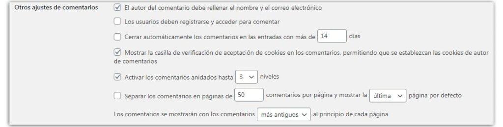 configurar comentarios wordpress