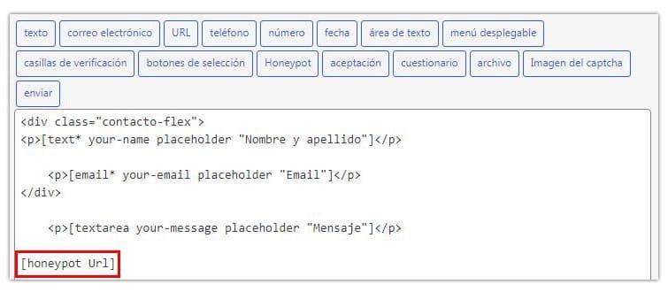 sistema honeypot para evitar el spam en contact form 7