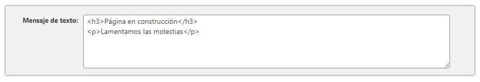 modificar texto mantenimiento